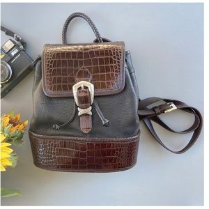 Brighton Vtg black brown leather backpack